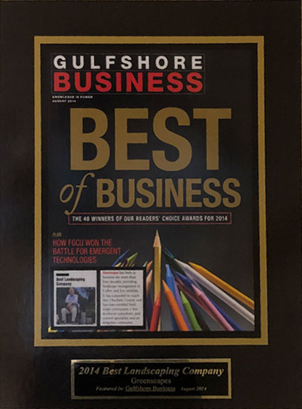 Gulfshore Best of Business in Landscaping (2012 – 2019 Gulfshore Life Magazine) | Greenscapes of Southwest Florida, Inc.