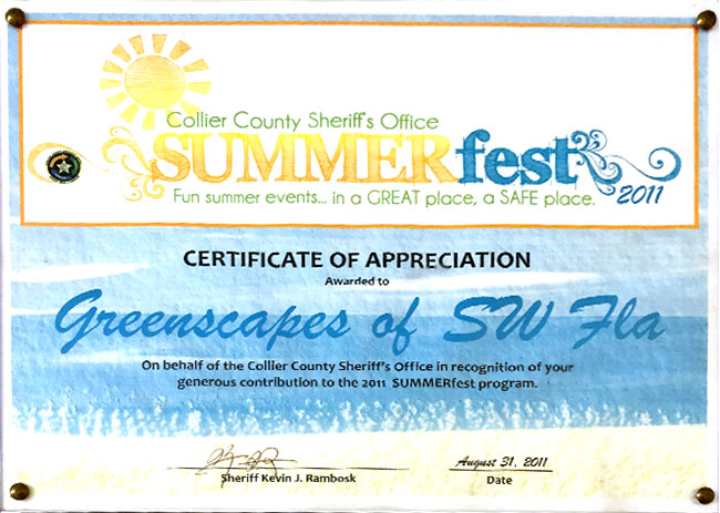 Collier County Sheriff's Office: Certificate of Program Contribution Appreciation (2011 SUMMERfest) | Greenscapes of Southwest Florida, Inc.
